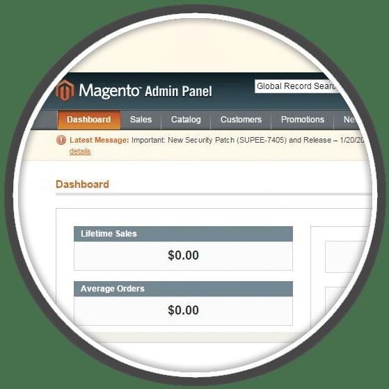 magneto admin panel view