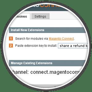 magento install extension admin interface